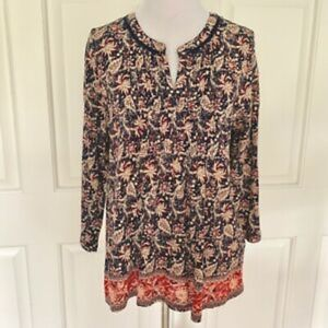 BOHO PEASANT EMBROIDERED 3/4 SLEEVE FLOWY FLORAL